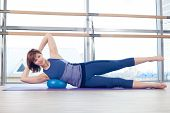 picture of stability  - pilates woman stability ball gym fitness yoga exercises girl - JPG