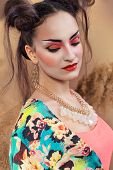picture of geisha  - Stylized portrait of a Japanese geisha with bright make up - JPG