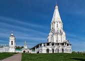 image of ascension  - Church of the Ascension and a standalone belltower in Kolomenskoye park (former royal estate) Moscow Russia. UNESCO World Heritage Site.