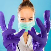 picture of rubber mask  - Preparing to surgery protective equipment concept - JPG