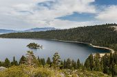 picture of emerald  - Emerald Bay in Lake Tahoe with stormy clouds in a Spring afternoon - JPG