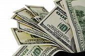 picture of twenty dollars  - US one hundred dollar bills isolated on white background - JPG