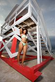 pic of beach hut  - Attractive woman posing by a lifeguard hut in Miami Beach - JPG
