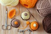 stock photo of thread-making  - Making of handmade colorful crochet toys sweets  - JPG