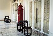 image of postbox  - Chino Portuguese style decoration with postbox at corridor - JPG