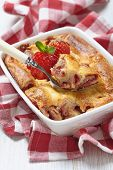 image of cheesecake  - Strawberry crepes roll baked with cheesecake sauce - JPG
