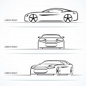 stock photo of muscle-car  - Set of modern sports car outlines - JPG