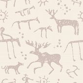 image of prehistoric animal  - Cave painting animals silhouettes vector seamless pattern - JPG