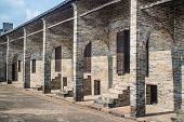 foto of barn house  - old barn house built of bricks in China - JPG