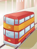picture of tram  - Illustration of a Double Decker Tram in the Middle of the Railway - JPG