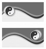 picture of ying-yang  - banner wave ying yang design web - JPG