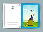 image of special day  - Beautiful greeting card design with Father and Son on nature scene background for Happy Father - JPG