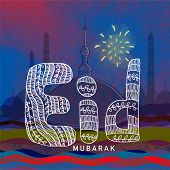 stock photo of eid mubarak  - Beautiful floral design decorated text Eid Mubarak on stylish mosque silhouette background for Muslim community festival celebration - JPG