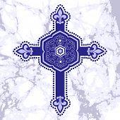 stock photo of fleur de lis  - Antique cross fleur de lis  - JPG