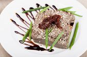 stock photo of liver  -  liver pate on a white plate - JPG