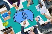 stock photo of economizer  - Piggy Bank Saving Money Economize Profit Concept - JPG
