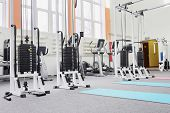stock photo of health center  - Gym centre interior - JPG