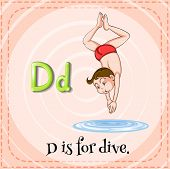 stock photo of letter d  - English flashcard letter D is for dive - JPG