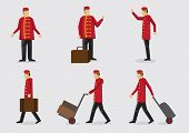 stock photo of carry-on luggage  - Set of six vector illustration of hotel doorman wearing red jacket and cap with luggage in frontal and side profile view - JPG