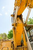 stock photo of hydraulics  - Detail of hydraulic bulldozer piston excavator arm construction machinery - JPG