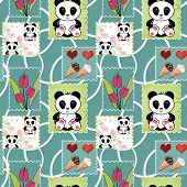 picture of panda  - Seamless asia panda bear kids illustration patchwork design background pattern - JPG