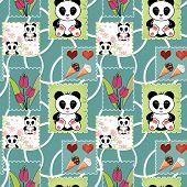 stock photo of panda bear  - Seamless asia panda bear kids illustration patchwork design background pattern - JPG