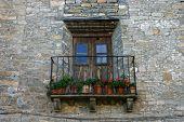 Antique Balcony In A Rural Village In Huesca, Spain