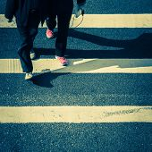 picture of pedestrians  - Pedestrians people moving at zebra crosswalk - JPG
