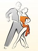 foto of waltzing  - Abstract illustration of dancing couple made in line style for emblem - JPG