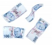 stock photo of turkish lira  - Flying 100 Turkish Liras on white background - JPG