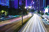 picture of hong kong bridge  - Traffic in Hong Kong at night - JPG