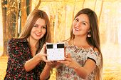 stock photo of bff  - Two beautiful young happy girls holding a gift box - JPG