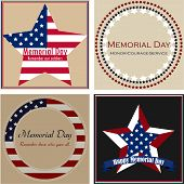 image of memorial  - Set of backgrounds with text and elements for memorial day - JPG