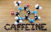 foto of molecules  - caffeine molecule structure  - JPG
