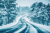 pic of icy road  - Winter on the Road - JPG