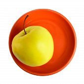 Apple On The Plate. Top View