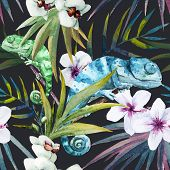 foto of chameleon  - Beutiful watercolor vector pattern with reptiles chameleon - JPG