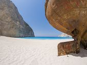 picture of shipwreck  - The famous Navagio Shipwreck beach in Zakynthos island Greece - JPG