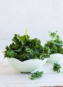 image of kale  - Fresh green kale leaves in  bowl - JPG