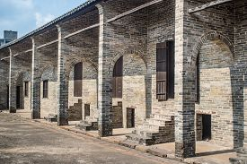 stock photo of barn house  - old barn house built of bricks in China - JPG
