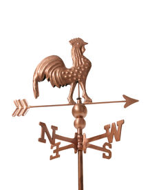 image of wind vanes  - a rooster weather vane isolated over white - JPG