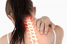 picture of red-necked  - Digital composite of Highlighted spine of woman with neck pain - JPG