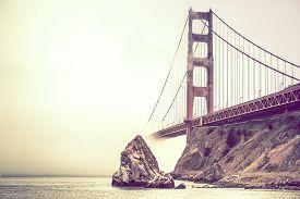 foto of gate  - California Golden Gate Bridge in Fog - JPG