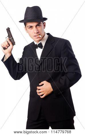 Young elegant man holding handgun