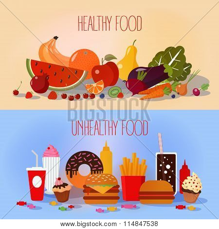 Healthy Food And Unhealthy Fast Food poster