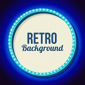 Постер, плакат: Retro frame circle with neon lights