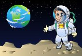 Montículos com Cartoon astronauta