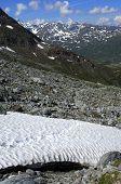 Dangerous snowfield in teh Alps