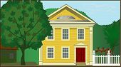 stock photo of 1700s  - Detailed illustration of 1700s Colonial house in rural setting - JPG