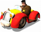 riesige Mann in Kleinwagen